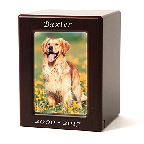 Photo Frame Wood Memorial Urn for Cats and Dogs - Medium - Holds Up to 85 Cubic Inches of Ashes - Cherry Wood Brown Pet Cremation Urn for Ashes - Engraving Sold Separately