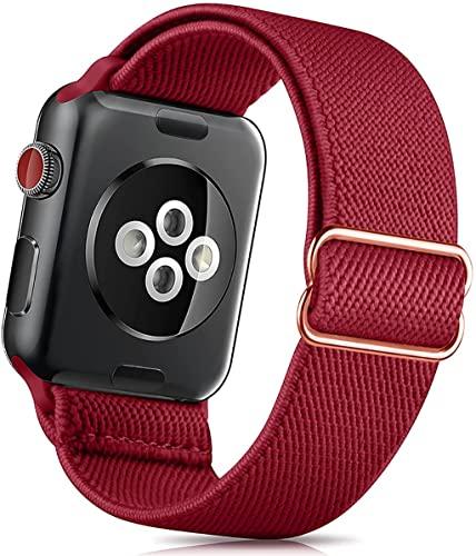 LCB Sport Smart Wristband 3 8mm 40mm 42mm 44mm è Adatto for l'orologio Apple SE 6 5 4 3 Cinturino Intrecciata in Fibbia in Acciaio Inox (Color : Wine Red, Size : 42/44mm)