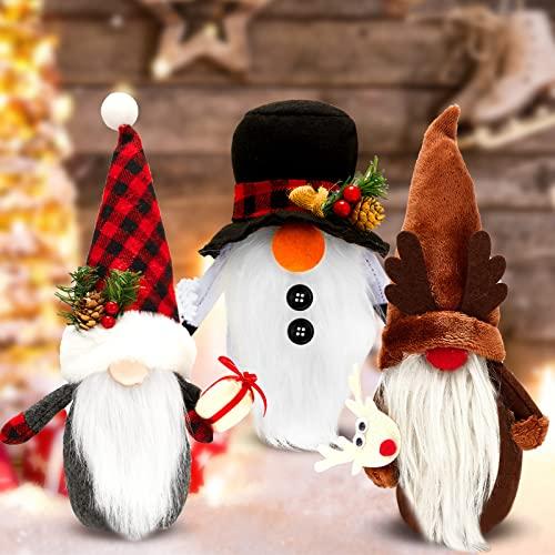 3 Pieces Christmas Gnomes Plush Decor Santa Snowman Reindeer Plush Dolls Handmade Swedish Snowman Gnomes Decor Handmade Scandinavian Doll Ornaments for Christmas Home Party Decor Supplies, 3 Styles