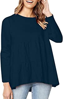 Holzkary Women's Oversized Scoop Neck Pleated Blouse Casual Solid Color Tunic Tops Shirts