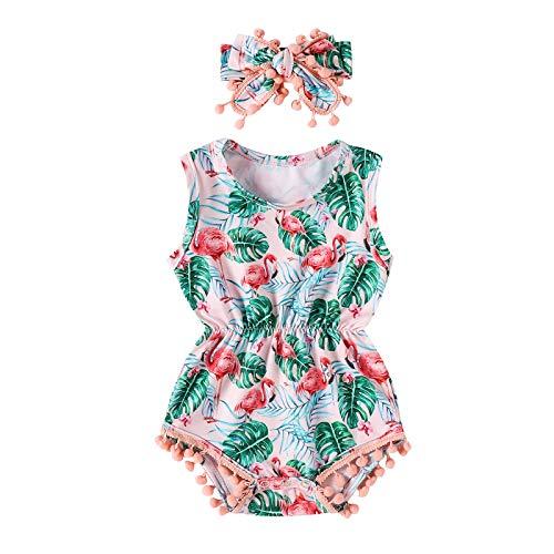 I3CKIZCE Juego de ropa de bebé para bebés de 0 a 24 meses, 2 unidades de pelele + diadema para el pelo con estampado floral sin mangas, cinta de lazo, moda dulce y casual Verde 18-24 Meses