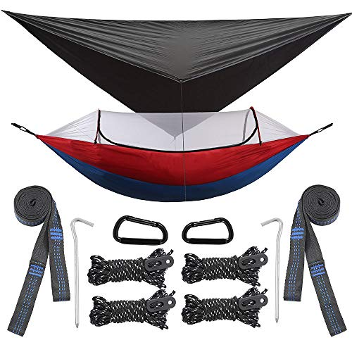 All in One Camping Hammock Bundle Set with Mosquito Bug Net, Rain Fly, Tree Straps and Compression Sack - Lightweight, Heavy Duty, Double & Single Hammocks for Outdoor Travel Survival & Backpacking.