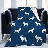 french bulldog fleece fabric - SUINBOHODE French Bulldog Dog Silhouette Fabric Navy Flannel Fleece Blanket Super Soft Warm Cozy Luxury Bed Blanket Plush Lightweight Sofa Throw Blanket Microfiber