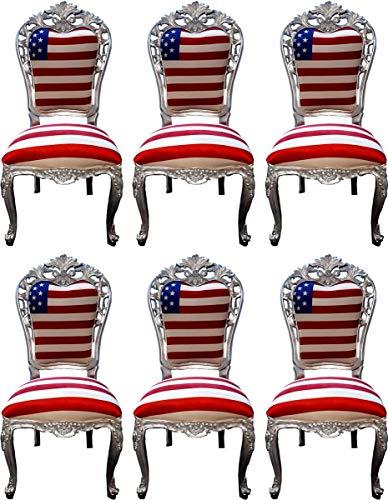 Casa Padrino Conjunto de sillas de Comedor barrocos de Lujo EE. UU. / Plata 52 x 51 x A. 105 cm - Conjunto de 6 sillas de Cocina barrocos de diseño - Muebles de Comedor barrocos