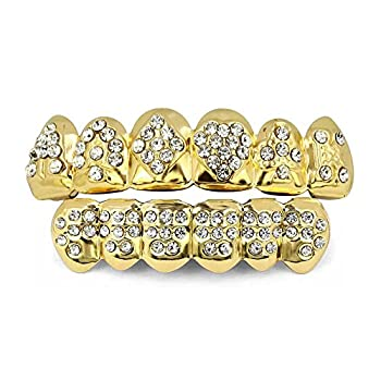 TOPGRILLZ 18K Plated Gold Grills Teeth Grillz for Men Women Iced Out Hip Hop Poker Diamond Top & Bottom Face Grills for Teeth Poker
