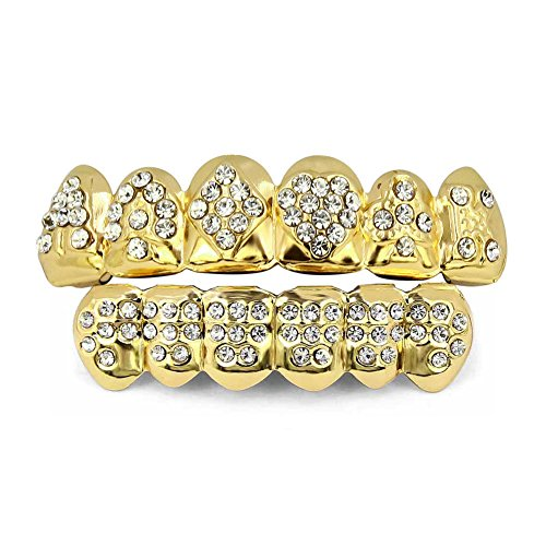 TOPGRILLZ 18K Plated Gold Teeth Grillz for Men Women Iced Out Hip Hop Poker Diamond Top & Bottom Face Grills for Teeth