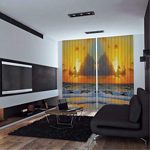 MOOCOM Ocean Dr,Window Curtain Panels,Morning at The Beach in Brazil The Sun Rays Through The Clouds Over The Sea Sunset OKJEFF 191486,Bathroom Curtains,W108xH90 inches