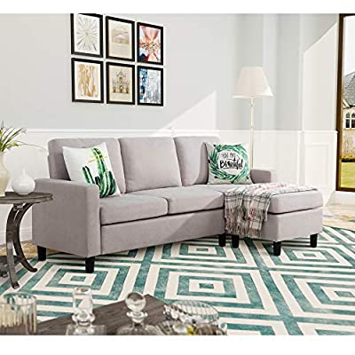 Walsunny Convertible Sectional Sofa for Small Space, L-Shaped Couch with Modern Linen Fabric