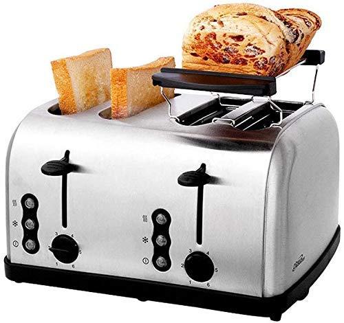 GJJSZ Máquina de Desayuno automática con Control de Temperatura de 6 velocidades Máquina de Pan de Acero Inoxidable con tostadora de 4 Piezas con Ranura Ultra Ancha [Clase energética A]
