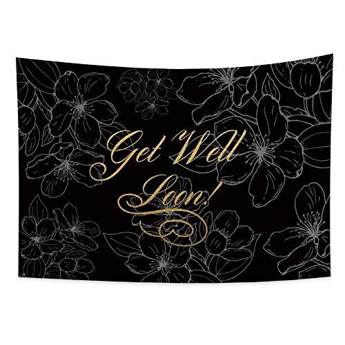 Tapiz Tapiz de moda Impresión de letras doradas y flores blancas Tapiz Tapices Decoración del hogar para sala de estar Dormitorio Dormitorio 150x200cm