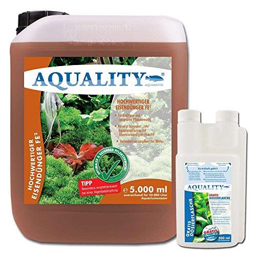 AQUALITY Aquarium Eisendünger FE² (GRATIS Lieferung in DE - Enthält den wichtigen und unentbehrlichen Pflanzennährstoff Eisen FE² - sattgrüner Pflanzenwuchs), Inhalt:5 Liter