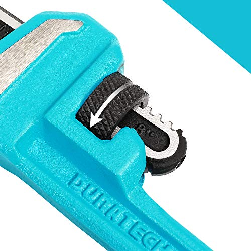 DURATECH 8-Inch Heavy Duty Pipe Wrench, Adjustable Plumbing Wrench, Malleable Cast Iron Handle, Exceed GGG standard