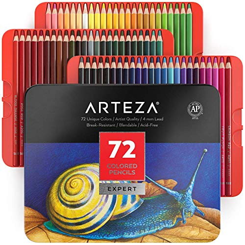 Arteza Colored Pencils, Set of 72 Colors, Soft Wax-Based Cores, Art Supplies for Drawing Art, Sketching, Shading, Coloring Pencils for Adults, Beginners & Artists in Tin Box