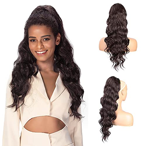 Dark Brown Drawstring Ponytail Extension Long Curly Wave Synthetic Ponytail Hair Extension Clip in Ponytail Hairpiece for Women (4#)