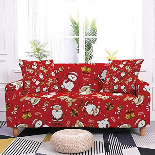 GFFGA Christmas Sofa Decor Elastic Sofa Cover For Living Room Stretch Non-slip Couch Cover Santa Claus Sofa Slipcover Chair Protector,Set 3,4-seater 235-300cm