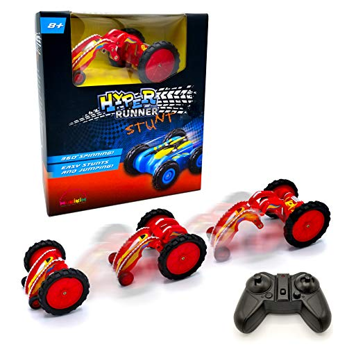 MukikiM Hyper Runner Stunt - Red – Remote Control Race Car Rocks Super High-Speed Stunts & Moves! 360° Spins & Transforming Body with Fun Light! Quick USB Charge. Not Your Normal RC Car!