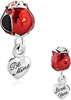 Love You Be Mine Bright Red Rose Flower Bead Charms
