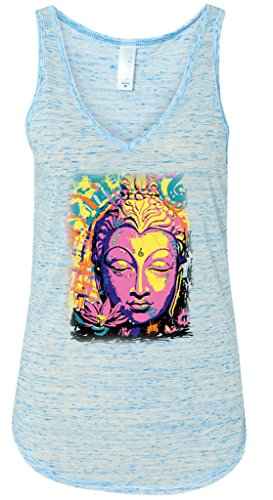 Yoga Clothing For You Psychedelic Buddha Flowy V-Neck Tank Top, XL Blue Marble
