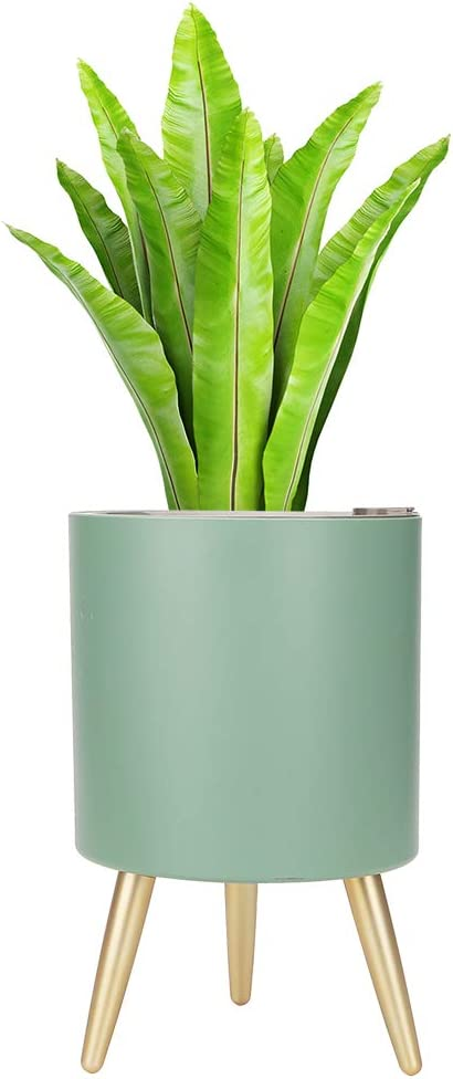 MUDEELA Planter Pot with Stand, 7.5 inches Plant Pot with Self Watering & Drainage System, Indoor Outdoor Plant Pot with Legs, Flower Planter with Water Shortage Alarm, Green
