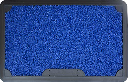 J&V TEXTILES Original 2 Piece Disinfectant Door Mat, 18x28, Heavy Duty Doormat, Indoor Outdoor, Waterproof, Easy Clean, Low-Profile Mats for Entry, Garage, Patio (Blue)