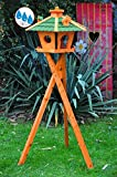 Vogelhaus Massivholz,wetterfest, mit Ständer/mit Standfuß und Silo,Futtersilo für Winterfütterung -Holz Nistkästen & Vogelhäuser- Ständer BR45grMS