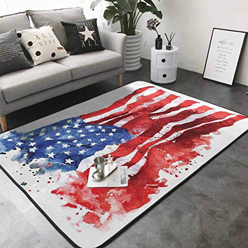 "Floor Mat for Toilet Non Slip National Paint Brush Watercolor Digital Stroke Messy Graffiti Artsy Decor 80""x 120"" Best Floor mats"