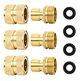 """STYDDI Brass Garden Hose Quick Connect Fitting, 3 Set 3/4"""" GHT Solid Brass Water Hose Quick Connector with Male and Female, Full Flow, with 4 Washers"""
