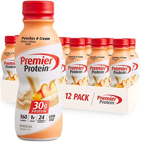 Premier Protein Shake 30g 1g Sugar 24 Vitamins Minerals Nutrients to Support Immune Health 11.5 12 Pack, Peaches & Cream, 138 Fl Oz