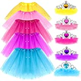 G.C Girls Princess Dress up Clothes with Star Sequins and Princess Crown Tiara Set Ballet Birthday Party for 2-8 Year Old Girl Gifts Tutu Skirt as Party Favors