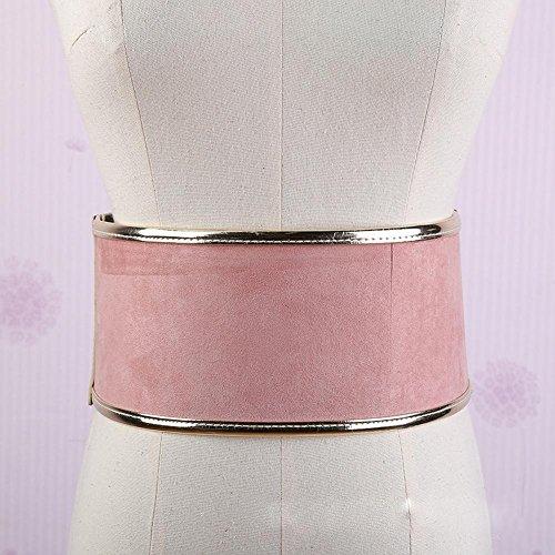 SZH&BELT Retro Metall Taille breiten Gürtel Damen Suede elastische Gürtel , pink