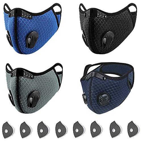 CONTINUE Sports_Dust_Mask_Filter_Reusable_Activated Carbon_Breathing Valve_Outdoors Sports_Half Face Protection Mask_Light Weight Earloop Anti Smoke for Men and Women