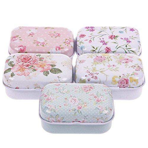 Teabelle - Bolsa de Almacenamiento para Lata de Hierro, Diseño de Flores, Ideal para Regalo, Caja de Joyería, Decoración de Tarjetas, Pastillero