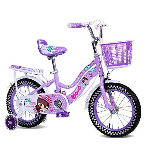 WEHOLY Bicicleta de Viaje Bicicleta para niños Portabebés para niña de 18 Pulgadas 6-9 Ciclismo para bebés Acero al Carbono, Rosa/Azul/púrpura