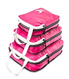 3 Piece Set Compression Packing Cubes - Pink Luggage Travel Organizers with Compression Zipper