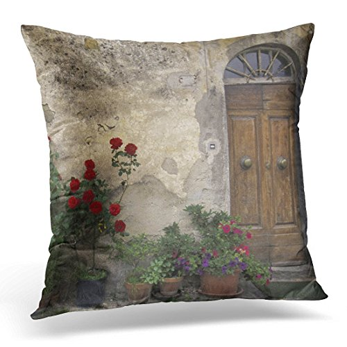 gatetop Throw Pillow Cover Fleur Jour Europe Italie Toscane Chianti Toscane Extérieur Décoratif Taie d'oreiller Décor À La Maison Carré 18x18 Pouce Taie d'oreiller
