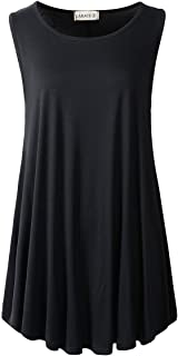 LARACE Women Solid Sleeveless Tunic for Leggings Swing...