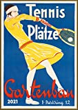 "Wall Calendar 2021 [12 pages 8""x11""] Tennis Girl Vintage Sport Ads Poster Advert"