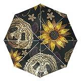 Panda Sonnenblume, kompakter Reise-Regenschirm, Outdoor, Regen, Sonne, Auto, faltbar, wendbar, winddicht, verstärkter Baldachin, UV-Schutz, ergonomischer Griff, automatisches Öffnen/Schließen