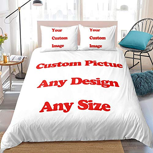 PJCNEW Personalised Photo Duvet Covers Bedding Set, Ultra Soft Hypoallergenic Microfiber Quilt Cover Set 140X200Cm