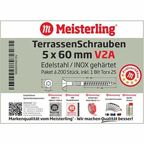 Meisterling® V2A Edelstahl TerrassenSchrauben Terrassen bau Schrauben Universalschrauben INOX 5 x 60 mm Edelstahl V2A