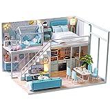 UR MAX BEAUTY Bricolage Maison De Poupée Poupée en Bois Maisons Miniature Dollhouse Furniture Kit avec LED Jouets pour Les Enfants De Cadeau De Noël, Accueil Decors,G
