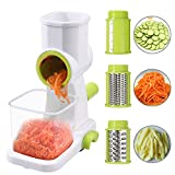 Fugen Vegetable Slicer Set Multifunction Vegetable Cutter Slicer Manual Vegetable Cutter Manual Rotating Grater Potato Carrot Grater Slicer with 3 Chopper Blades Kitchen Tools