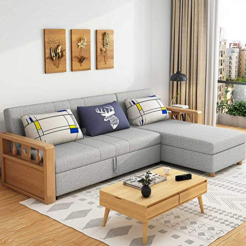 Reversible Sleeper Sectional Sofa with Storage and Wooden Handrail - 3 in 1 Compact Sofa Couch with Pull Out Bed and Large Storage Space - Home Recliner Couch Home Living Room Furniture,D,230cm