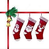 3 Piezas Medias de Navidad, Medias de Navidad Bordadas para Rellenar y Colgar, Santa Claus Reno Muñeco de Nieve de Calcetines de Decoración, Calcetin Navidad Chimenea para Decoraciones(Rojo)