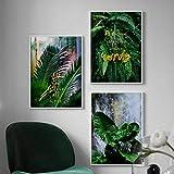 Planta de hoja de palma verde fresca Citas doradas Arte de la pared Pintura en lienzo Carteles nórdicos e impresiones Cuadros de pared para la decoración de la sala de estar-30x50cmx3Pcs-Sin marco