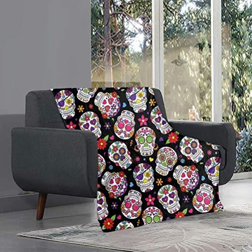 chaqlin Manta de sherpa con diseño de calavera floral, súper suave, mullida, manta decorativa para cama, sofá, vacaciones, accesorios de dormitorio, 80 x 60 pulgadas