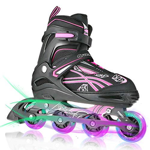 Cunmucu Adjustable Inline Skates for Kids and Adults with All Illuminating Wheels, Patines para Mujer, Outdoor Blades Roller Skates for Girls and Boys, Men and Women