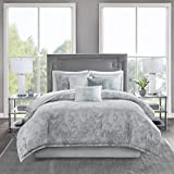 Madison Park Cozy Cotton Comforter Set-Emory Modern Marble Design All Season Down Alternative Casual Bedding with Matching Shams, Decorative Pillows, King(104'x92'), Grey 7 Piece