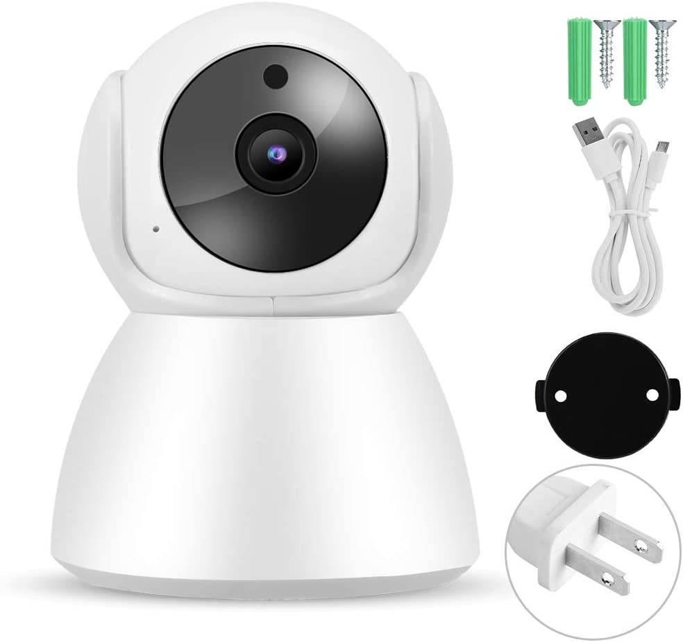 Tosuny WiFi IP Babycam 1080P Video Baby Monitor Wireless 2-Way Intercom Baby Care Monitor Indoor PTZ Home Security Camera, Support PIR Motion Detection/Loop Recording (US)