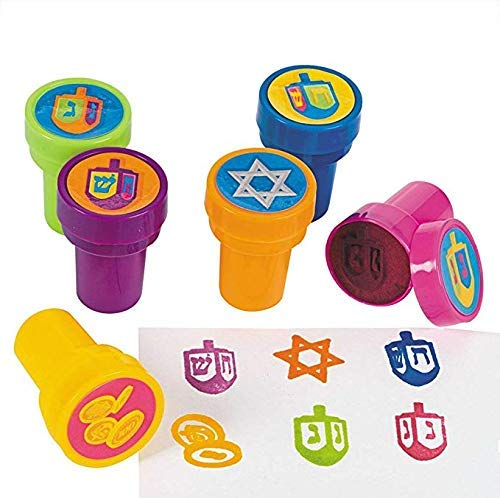 Hanukkah Stamps - Twelve Multicolored Hanukkah Stampers Each Stamp Includes A Fun Chanukkah Icon Including The Star of David, Dreidels and Coins